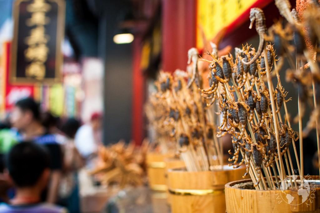 skorpiony na ulicy Wangfujing, Pekin, Chiny
