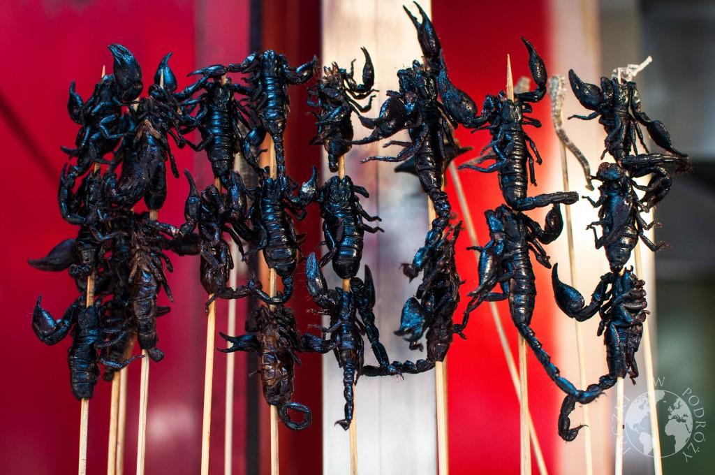 Czarne skorpiony Wangfujing w Pekinie