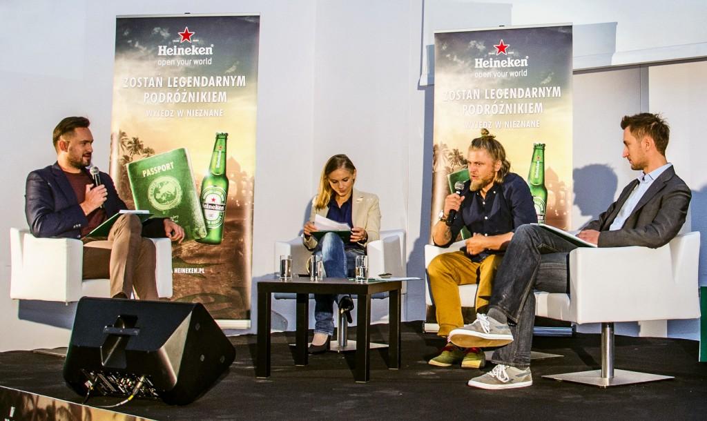 HNK_Konferencja_od lewej Marcin Prokop, Kinga Baranowska, podróżnik Jakub Barzak i  szef Heineken Wojciech Bogusz