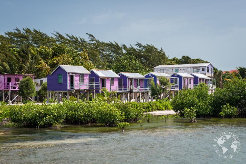 Caye Caulker pełne jest kolorowych, drewnianych domów